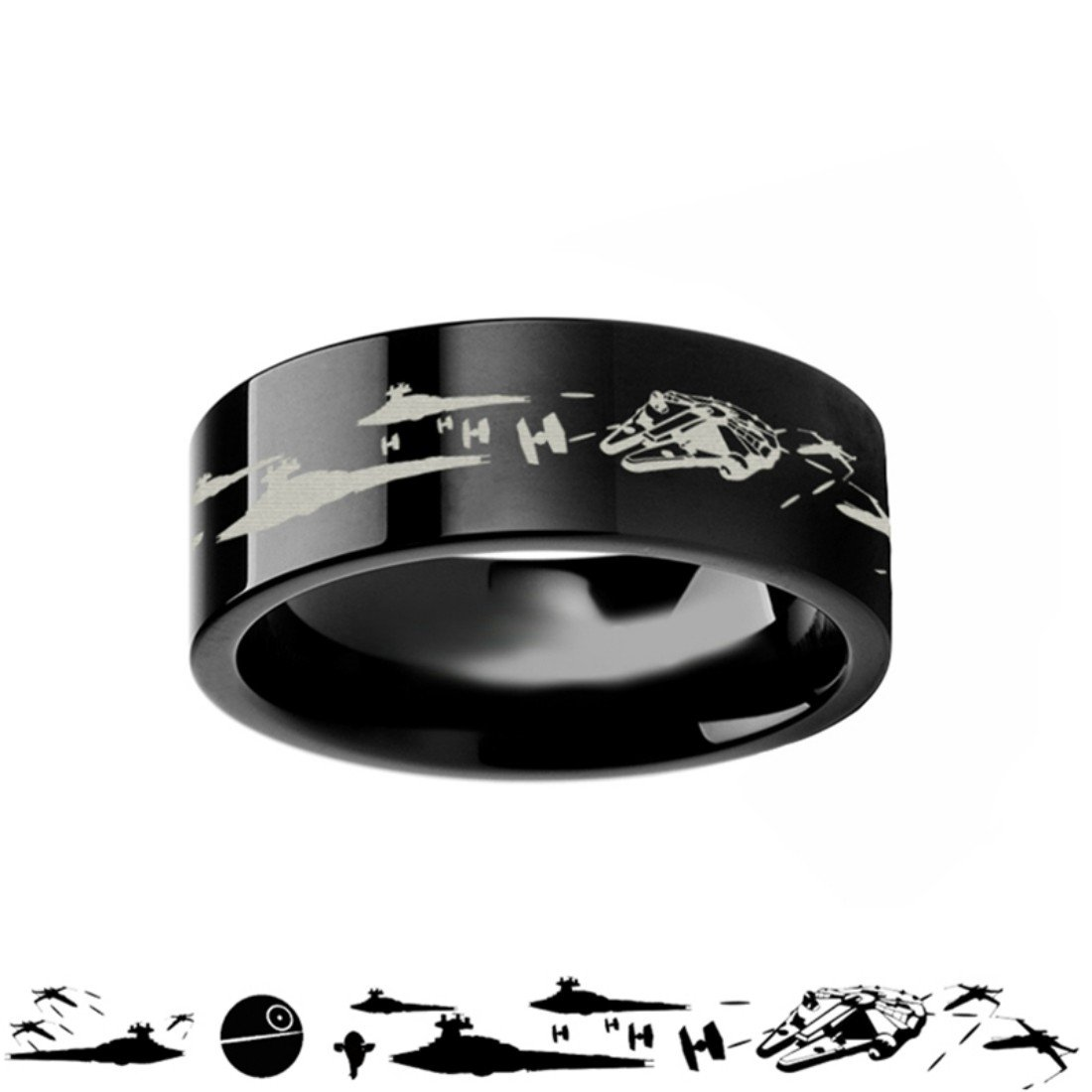 Star Wars A New Hope Death Star Space Battle Black Tungsten Ring Episode IV - 8mm Wide Band with Free Custom Engraving Personalized from Thorsten by Roy Rose Jewelry