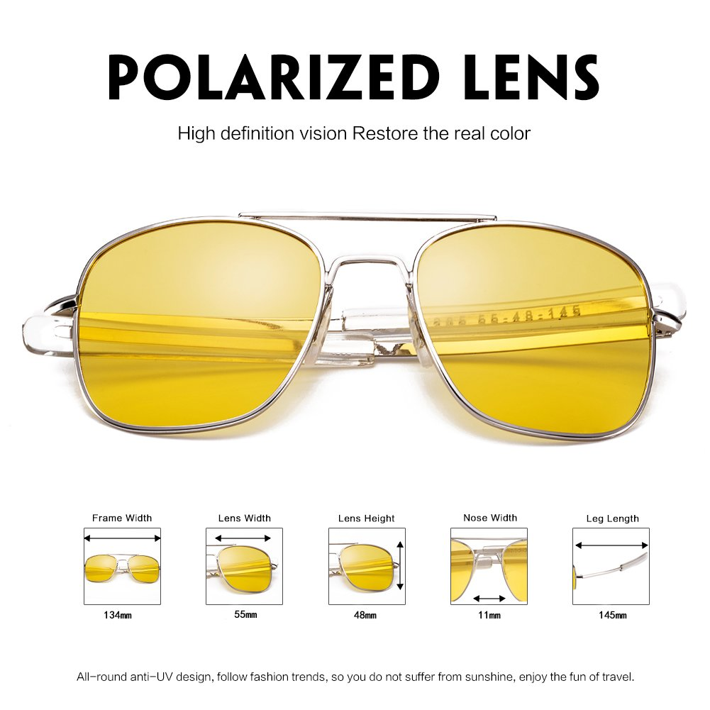 WELUK Night Driving Glasses Polarized 55mm Aviator Sunglasses for Men Yellow Lens