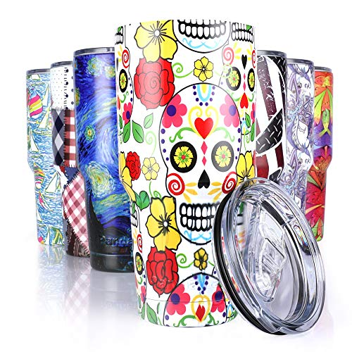 Pandaria 30 oz Stainless Steel Vacuum Insulated Tumbler with Lid - Double Wall Travel Mug Water Coffee Cup for Ice Drink & Hot Beverage, Sugar Skull