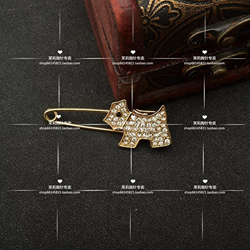 Jasmine counter high-end jewelry cute diamond brooch women girls puppy cardigan coat large brooch luxury ()
