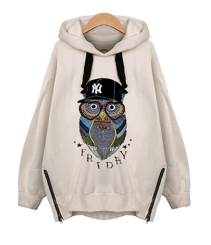 Angela Dress Womens Fashion Hooded Hoodie Owl Jacket Coat at Amazon Womens Clothing store: