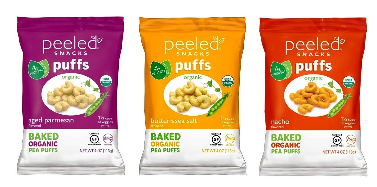 Peeled Snacks Organic Baked Pea Puffs 3 Flavor Variety Bundle, 1 each: Aged Parmesan, Butter Sea Salt, Nacho (4 Ounces)