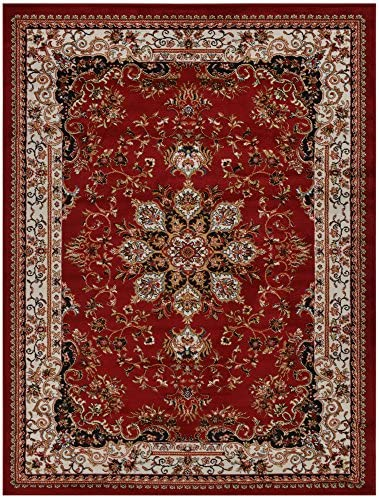 Nevita Collection Isfahan Persian Traditional Design Area Rug Dark Red Burgundy Also Available In Black, Beige Blue, Beige Red Colors Dark Red Burgundy , 7 10 x 9 10