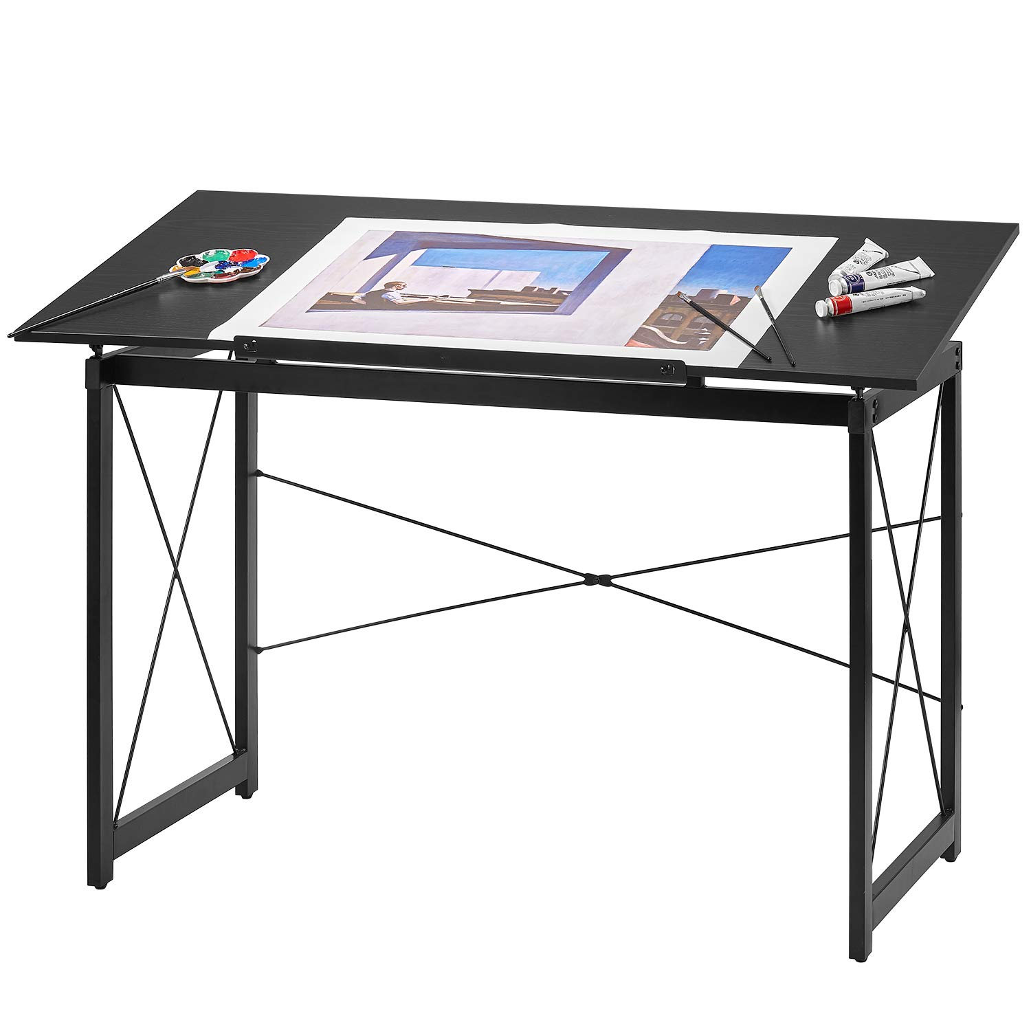 Kealive Drawing Desk Height Adjustable Drafting Table Tiltable Tabletop Wood Surface Craft Station Versatile for Drawing, Painting, Writing and Reading, Multipurpose Large Computer Desk, Black by kealive