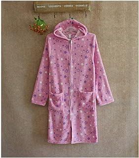 GAOHUI Lady Coral Velvet Herbst Home Freizeit Bademantel Cute Buchstaben Star Pattern Bademantel