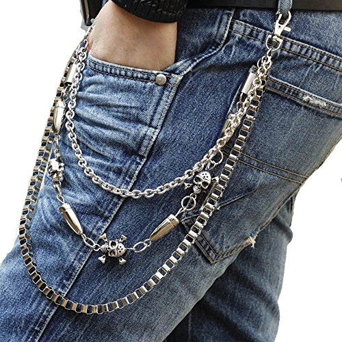 UIYTR Non-Mainstream Metal Pants Chain Punk Hip Hop Steampunk Personality Belly Waist Chain Bullet All-match Jeans Belts Motorcycle Punk Rock Locomotive Style (Bullet skull)