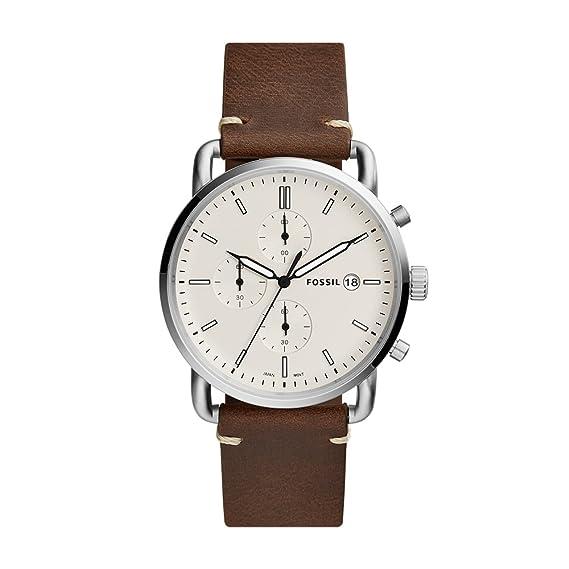 Fossil Reloj Analogico para Hombre de Cuarzo con Correa en Cuero FS5402: Amazon.es: Relojes