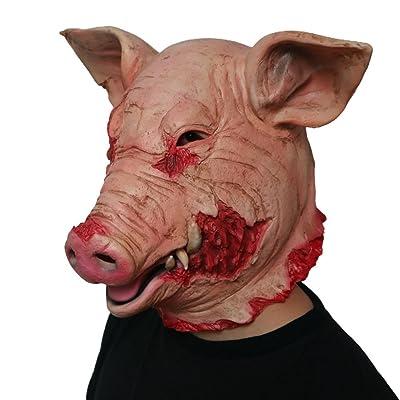 Morbuy Terror Máscara de Halloween, Adulto Látex Novedad Horror Espeluznante Cabeza Máscaras Cara Fiesta de Disfraces Cosplay (Cerdo Loco): Juguetes y juegos