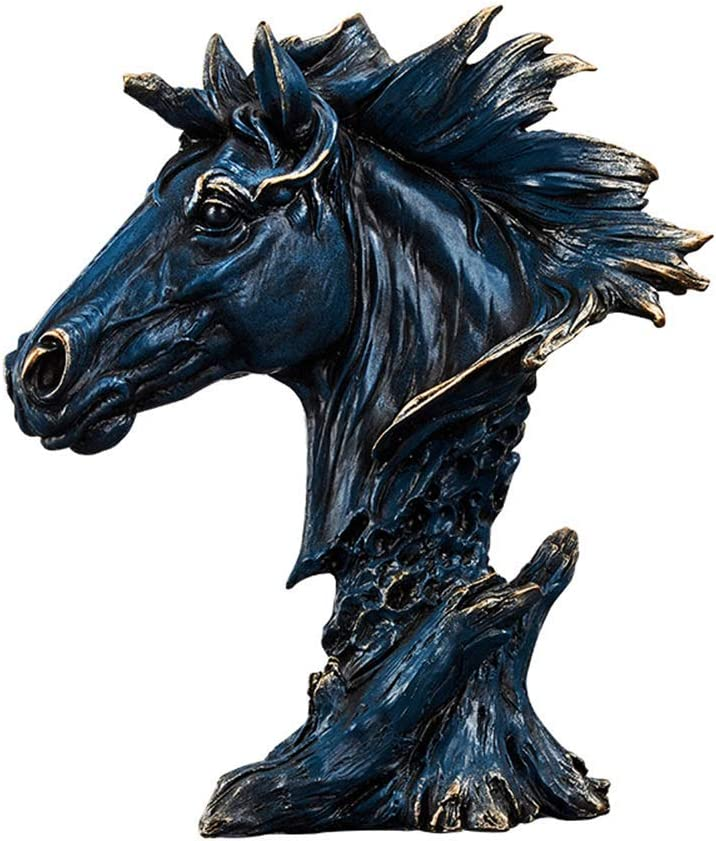 LIUSHI Horse Head Statue, Equestrian Sculpture Horse Head Bust Ornaments Bust Fantasy Retro Home Garden Tabletop Decoration