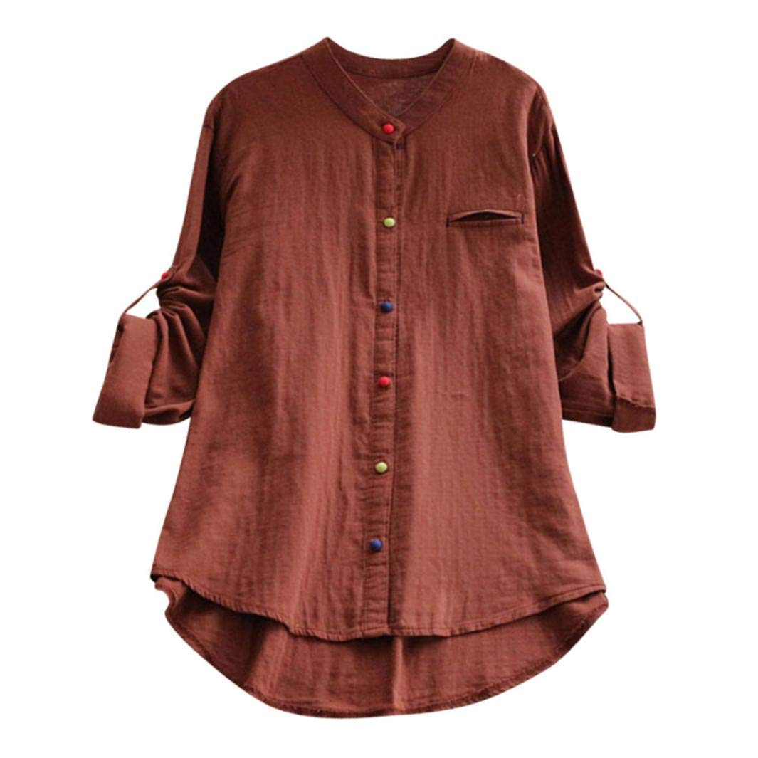 Bafaretk Womens Color Button T Shirt Loose Long Sleeve Tops O Neck Cotton Linen Blouse (XL, Coffee)