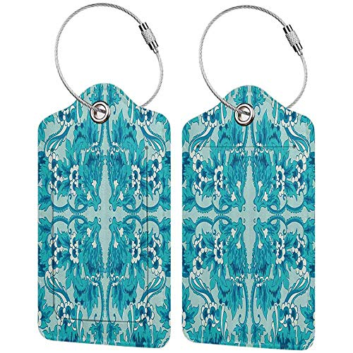 Flexible luggage tag Turquoise Decor Collection Flower Pattern Symmetric Sntique Floral Design Ornaments Stylized Art Fashion match Deep Sky Blue White W2.7