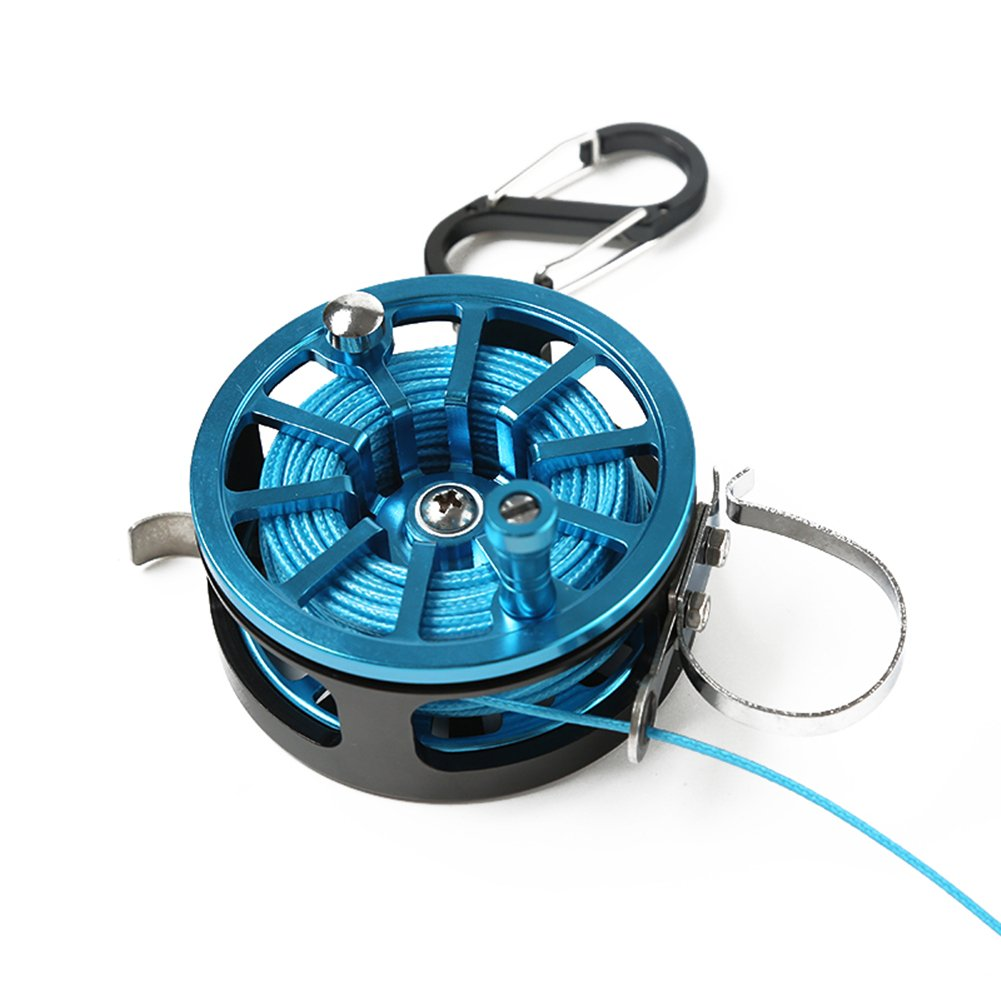 luremaster釣りロックバックルwithリール、ラインステンレススチールライブ魚ロックベルトFishing Tackle Stringer Floats釣りリール  ブルー B07CXF6BPW