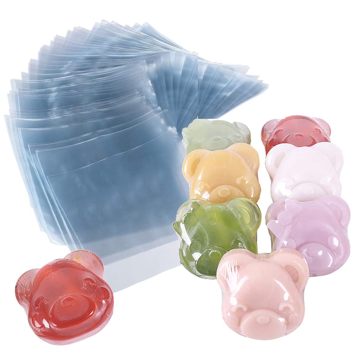 Shrink Bags 300 PCS Heat Shrink Wrap Bags 4 x 4 INCH & 100 Gauge for Wrapping Soaps, Oil & Homemade Gifts (4'' x 4'')