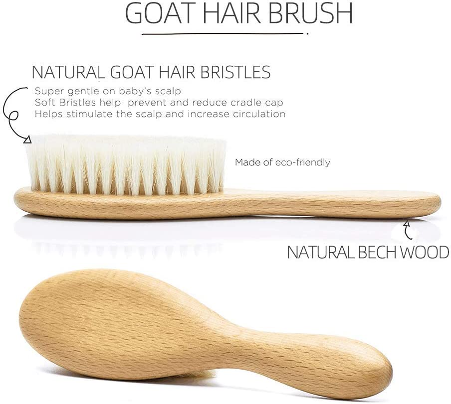 BeGrit Wooden Baby Hair Brush /& Comb Set Shampoo Brush Goat Bristles Brush for Massage and Cradle Cap Treatment for Newborns Toddlers Baby Shower /& Registry Gift
