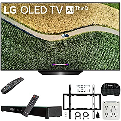 LG 4K HDR Smart OLED TV with AI ThinQ (2019) Bundle with Deco Gear Home Theater Soundbar, Flat Wall Mount Kit, Wireless Keyboard and 6-Outlet Surge Adapter with Night Light