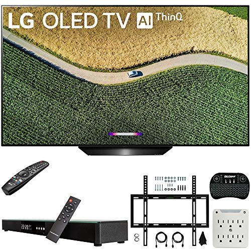 LG OLED55B9PUA B9 55″ 4K HDR Smart OLED TV with AI ThinQ (2019) Bundle with Deco Gear Home Theater Soundbar, Flat Wall Mount Kit, Wireless Keyboard and 6-Outlet Surge Adapter with Night Light