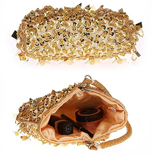 Beaded Gold Patry Wrist Purse Evening Flada Handmade Prom Clutches Bag Purple Bags Girls Bridesmaid pwEEfHqx6