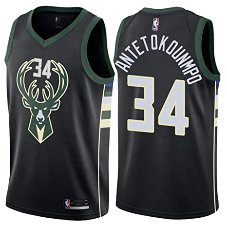 best cheap 2a46e d59ef Jordan Men's Milwaukee Bucks #34 Giannis Antetokounmpo Statement Black NBA  Swingman Jersey
