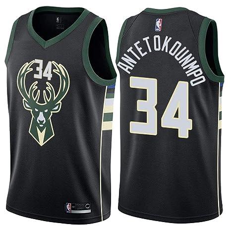 best cheap cd5ad d491d Jordan Men's Milwaukee Bucks #34 Giannis Antetokounmpo Statement Black NBA  Swingman Jersey