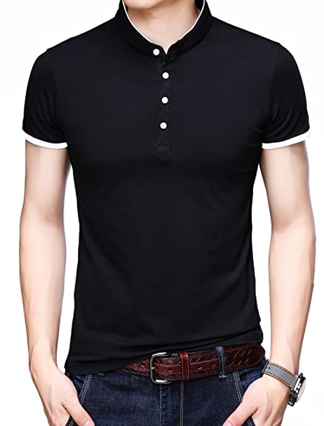 1de4cd7e1 KUYIGO Men's Casual Slim Fit Pure Color Short Sleeve Polo Fashion T-Shirts