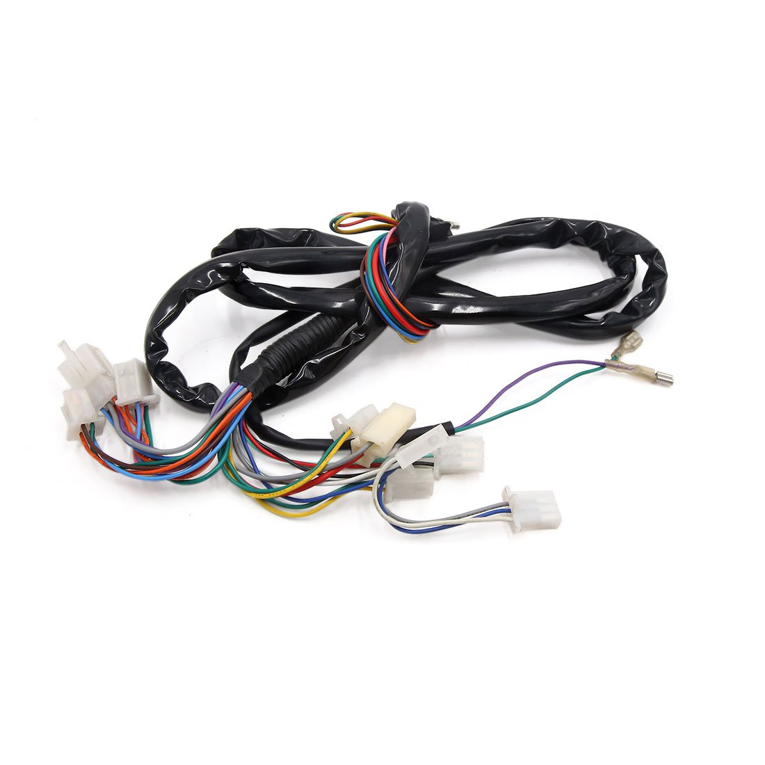 uxcell 174cm Length Black Main Wiring Harness Assembly for Motorcycle Electrical Scooter