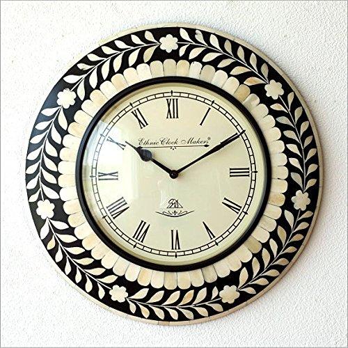 壁掛け時計 掛け時計 掛時計 壁掛時計 おしゃれ アンティーク レトロ クラシッ ク ヨーロピアン 北欧 カフェ 丸型 ラウンド ウォールクロック ボーンフラワー [ebn3128] B074DS7DY2