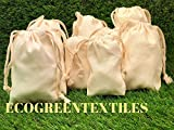 4x6 inches 100% Organic Cotton CANVAS Double Drawstring Muslin Bags Natural Color,Highly Durable and Recyclable Fabric, QTY-50