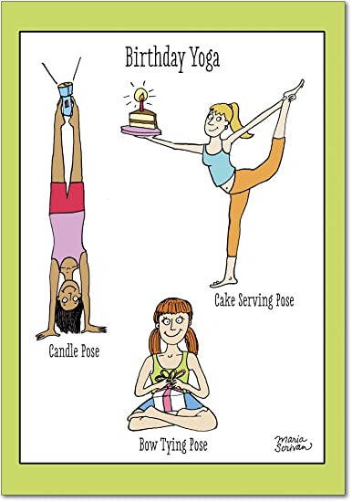 Birthday Yoga Birthday Funny Greeting Card Amazon Office