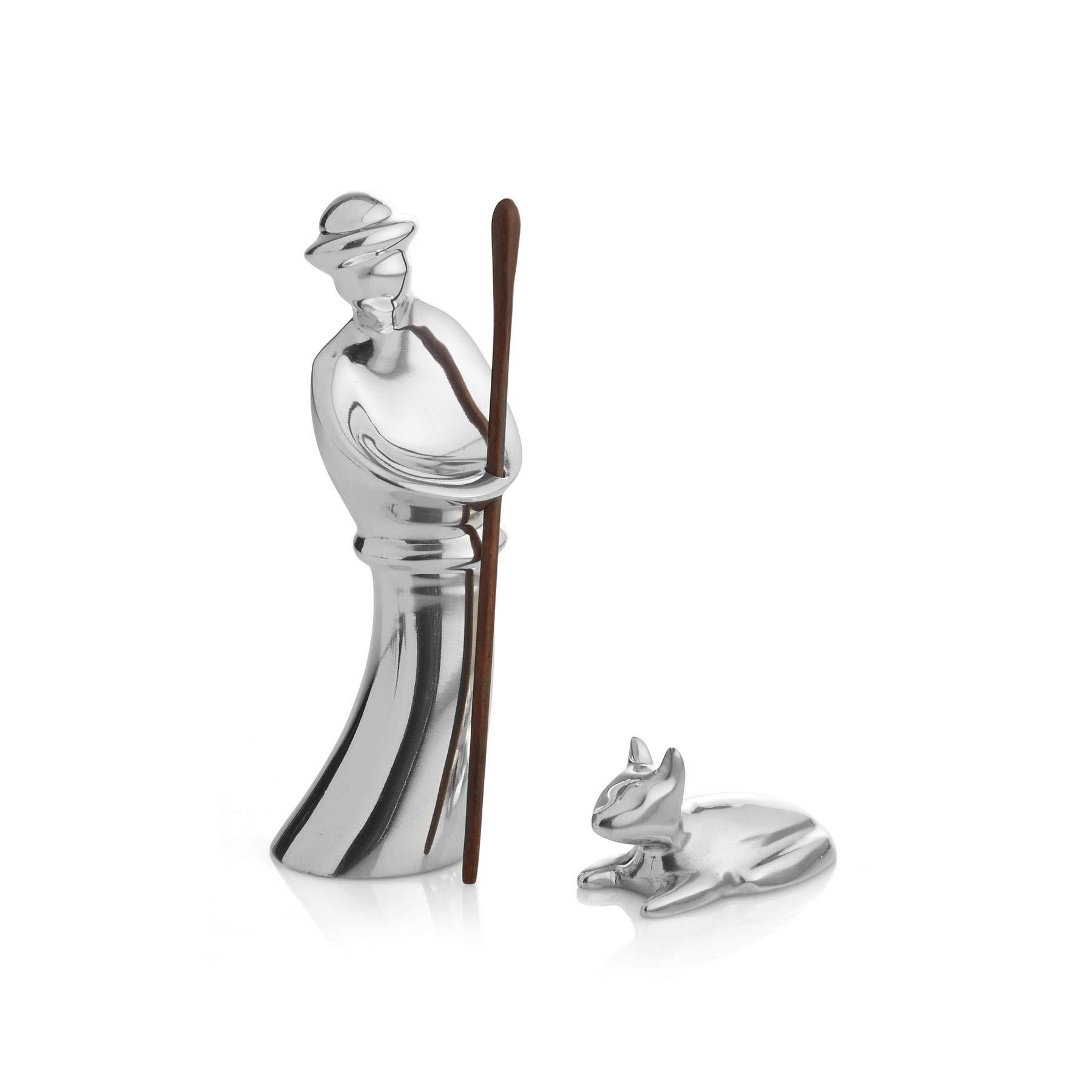 Nambe Miniature Nativity Figurines- Shepherd and Lamb