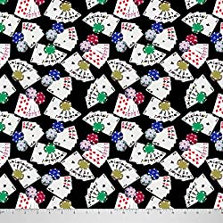 Soimoi 58 Inches Wide Cotton Cambric Fabric Poker Card Print Sewing Material By The Yard-Black