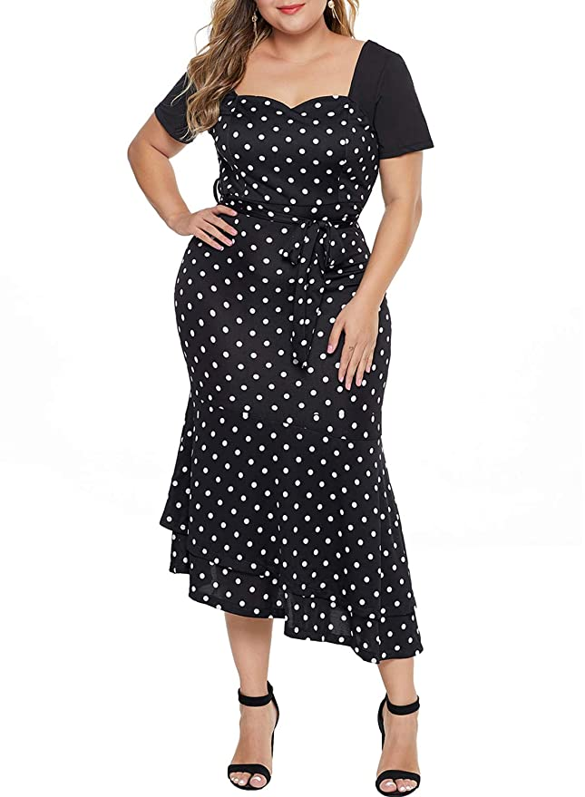 1950s Plus Size Dresses, Swing Dresses Urchics Womens Plus Size Retro Bodycon Cocktail Party Mermaid Midi Dress 1X-5X $23.99 AT vintagedancer.com