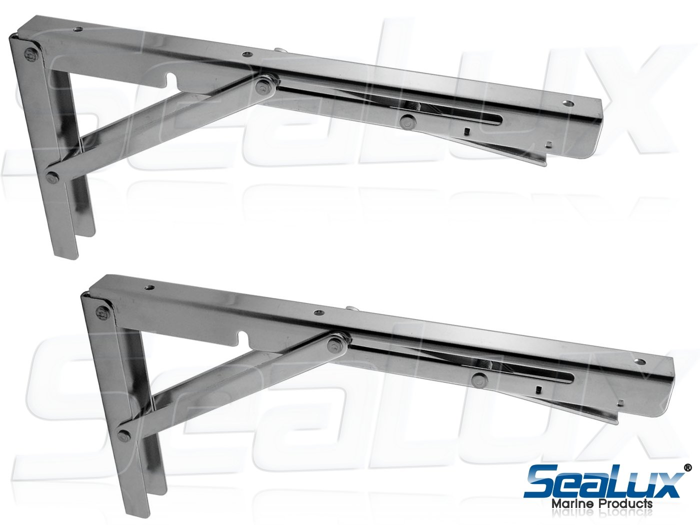SeaLux Stainless Steel Folding Brackets 90 degree Shelf, Bench, Table Support 12'' Long with easy reach Long release Handle / Max. Bearing 330 lb (Sold as 2 pcs)