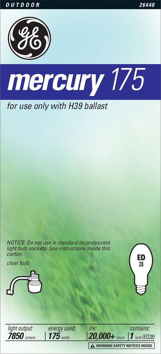 GE Lighting 26440 175-Watt High Intensity Mercury ED28 Street Light Mogul Light Bulb, 1-Pack