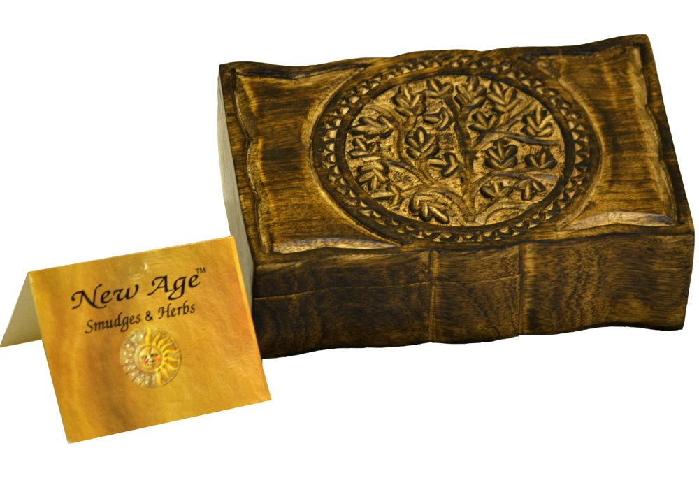 New Age Smudges and Herbs Wood Box Tree Of Life 9'' L X 6'' W by New Age Smudges and Herbs (Image #1)