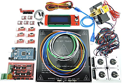 [Sintron] 3D Printer Electronics Full Kit, RAMPS 1.4 + Mega 2560 + MK3 Heatbed Heat bed + LCD2004 + Stepper Motor + MK8 Extruder + A4988 Stepper Motor Driver + Endstop for DIY RepRap Prusa i3 Kossel