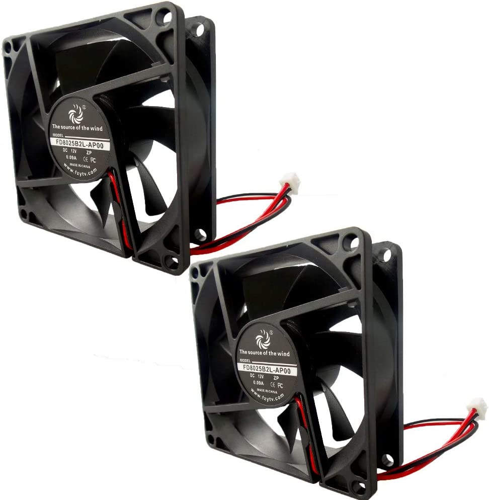 FZVAN 80mm DC 12V 80X80X25mm 2Pack Case Fan Radiator Silent Cooling Fan 12V for Computer Ball Bearing 2 Pin Terminal