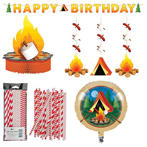 Camping Theme Party Decorations Party Supplies Pack | Happy Birthday Banner, Campfire and Tent Hanging Cutouts, Camping Scene Balloon, Campfire Centerpiece, and 24 Red and White Paper Straws -