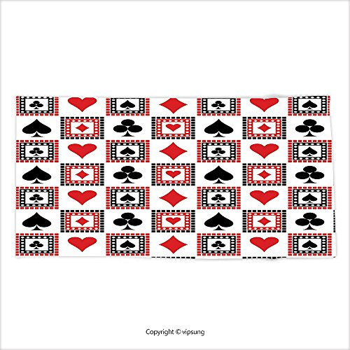 Vipsung Microfiber Ultra Soft Hand Towel Casino Decorations Icons Of Playings Cards Symmetrical Geometric Repeating Ornamental Decor For Hotel Spa Beach Pool Bath - Chippendales Playing Cards
