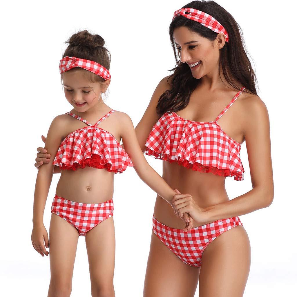 840c60fa1c58 Mymyguoe Mujer Bikinis Dividida Traje de baño Bikini de Punto de Onda con  Volantes Tops de ...