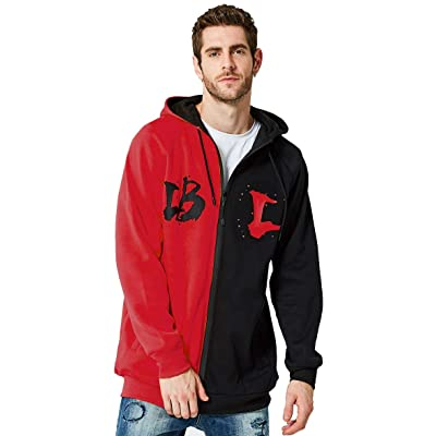 IDORIC Men Hip Hop Graffiti Hooded Jacket Streetwear Contract Color Full Zip Hoodie Red XL at Men's Clothing store