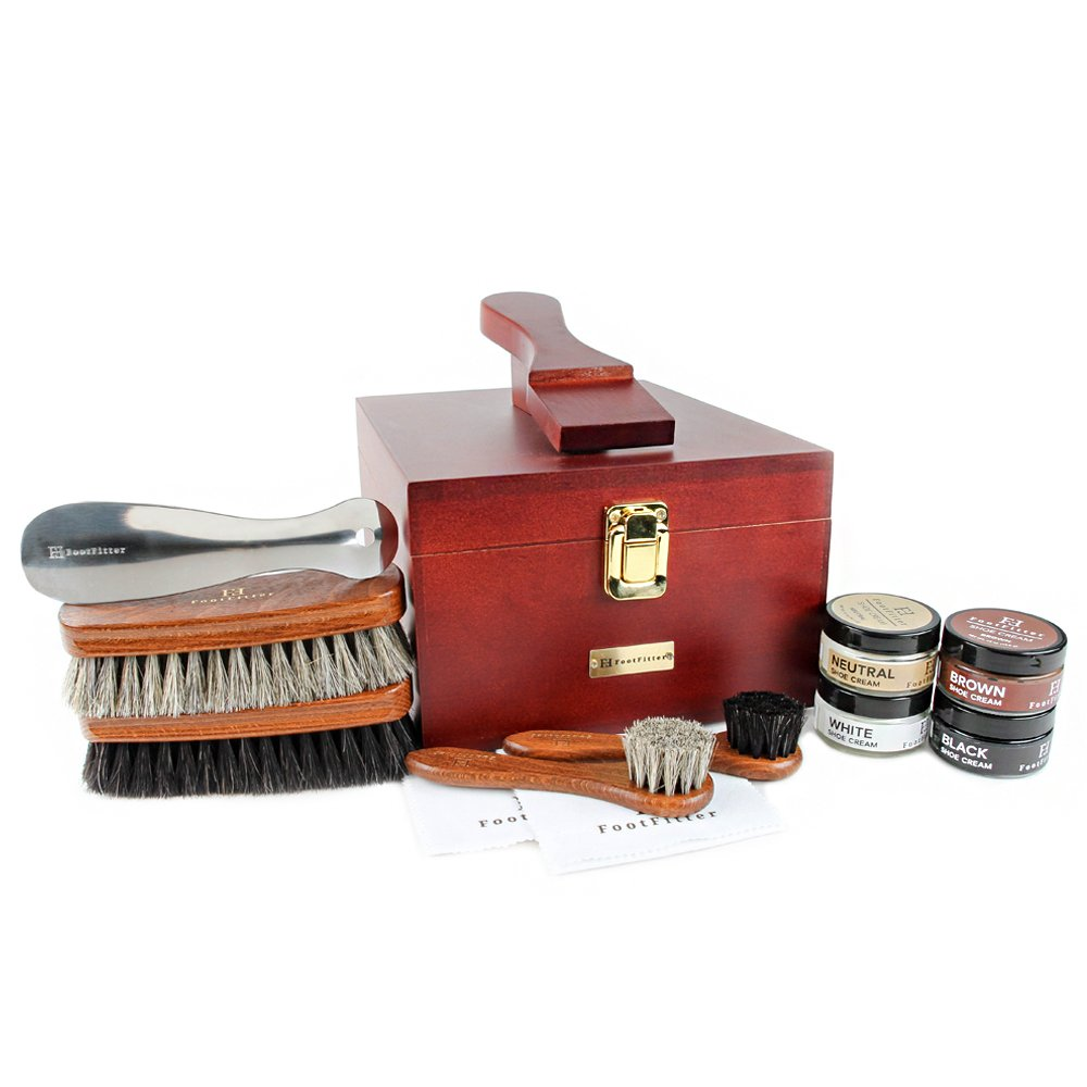 FootFitter Valet Set with Shoe Cream - Horsehair Brushes, Daubers, Shoehorn, Shine Cloths, Shoe Creams!