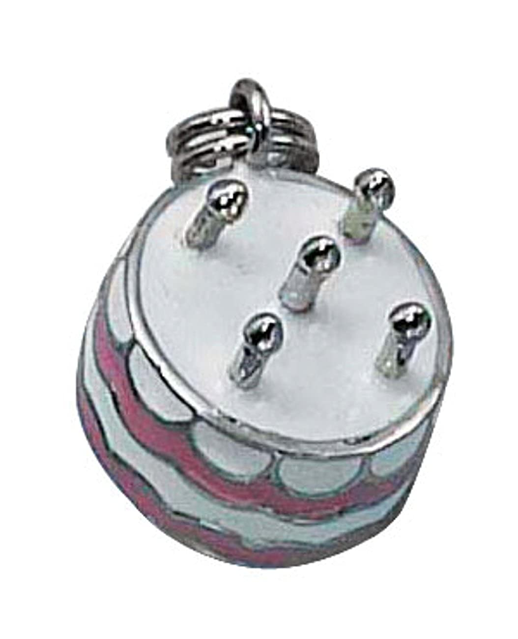 Sterling Silver Girls .8mm 3D Enameled Pink White Birthday Cake Or Anniversary Cake Pendant Necklace