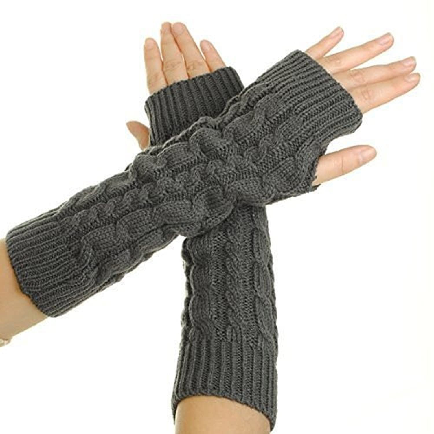 1 Pair Autumn Winter Warm Women's Cable Knit Arm Warmer Fingerless Gloves Thumb Hole Gloves Mittens Grey