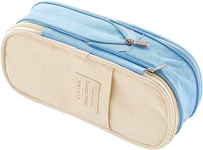 Rolin Roly Cartucheras Escolares Grande Plumier Case Bolso de Cosméticos Pencil Case (Light Blue): Amazon.es: Oficina y papelería