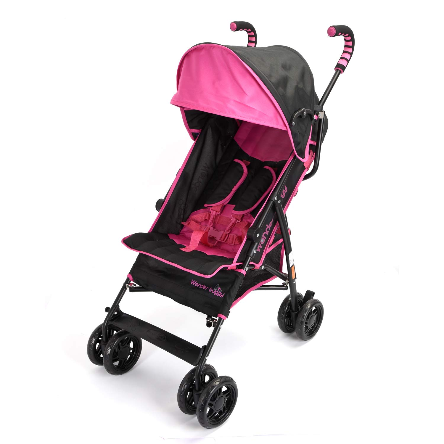 Wonder buggy Umbrella Strollers Lightweight, Baby Stroller with Large Canopy Rounded Hood and Basket, Mulit Position Foldable Infant Baby Travel Stroller Lightweight (Pink)