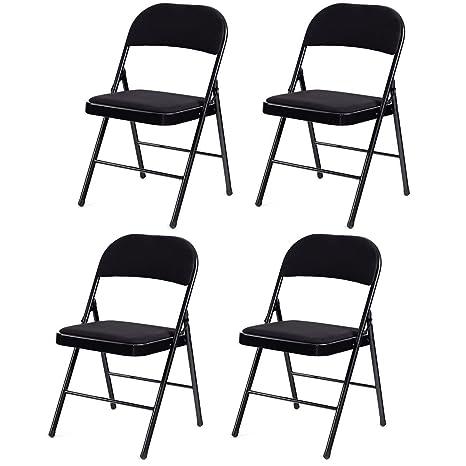 Juego de 4 sillas Plegables con Estructura de Metal y ...