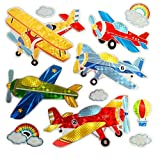 High Quality Classic Old Airplane stickers Colorful Wall Decals For Kids Lively Locker Decorations Removable Wall Stickers Excellent For DIY Children's Furniture Design Boys Wall Stickers