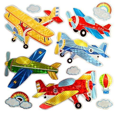 Classic Old Airplane Stickers Colorful Wall Decals for Kids Lively Locker Decorations Removable Wall Stickers Excellent for DIY Childrens Furniture Design Boys Wall Stickers