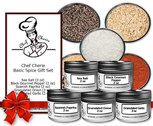 Chef Cherie's Basic Spice Gift Set-Contains 5 2 oz. Tins
