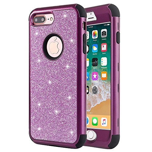 iPhone 8 Plus Case, iPhone 7 Plus Case, Anuck Heavy Duty iPhone 7 Plus Shockproof Protective Case [Sparkly Glitter Texture] Hybrid Armor Defender Cover Case for iPhone 7 Plus / - Purple Plastic Case